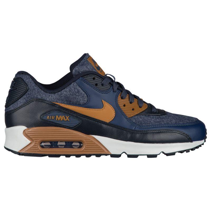 나이키 남자 캐주얼 스니커즈 런닝화 Nike Air Max 90 - Men's - Running - Shoes - Thunder Blue/Ale Brown/Obsidian