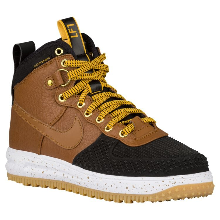 나이키 남자 스니커즈 부츠 하이탑 Nike Lunar Force 1 Duckboots - Men's - Casual - Shoes - Black/Gold Dart/White/Light British Tan