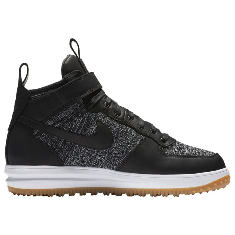 나이키 남자 아웃도어 부츠 Nike Lunar Force 1 Flyknit Workboots - Men's - Casual - Shoes - Black/White/Wolf Grey/Gum Light Brown