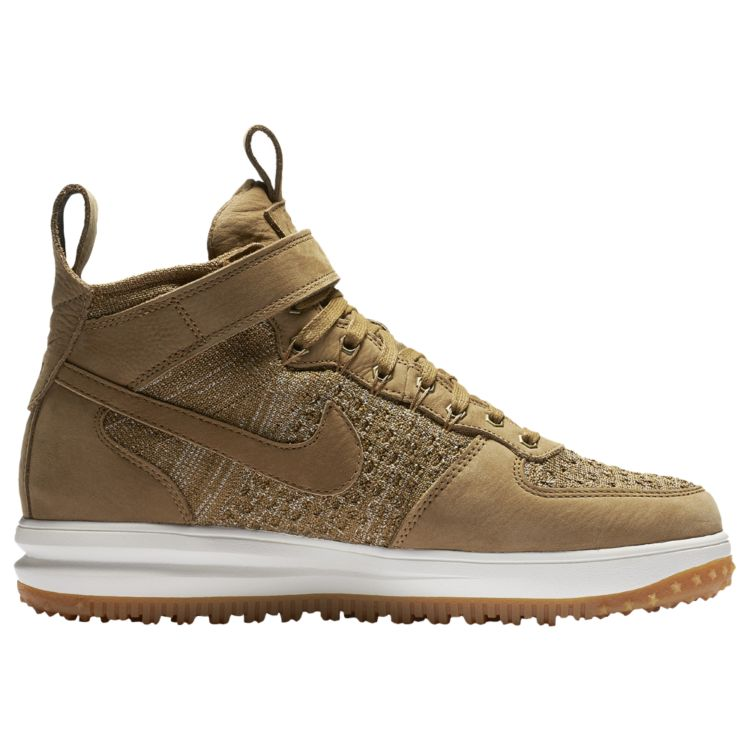나이키 남자 아웃도어 부츠 Nike Lunar Force 1 Flyknit Workboots - Men's - Casual - Shoes - Golden Beige/Olive Flak/Gum Light Brown